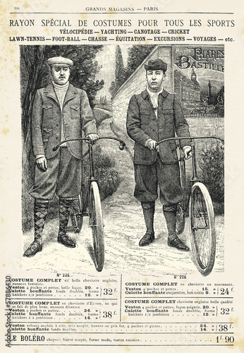 Two men with bike  suit