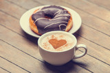 breakfast with donuts and coffee