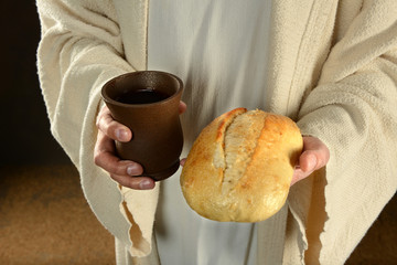 Jesus Holding Bread and Wine
