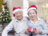 Senior Couple with Christmas hats