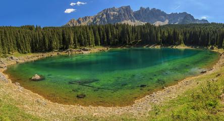 Carezza Lake in Dolomites,Val Di Fassa,South Tyrol,Italy