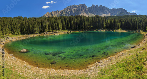 Carezza Lake in Dolomites,Val Di Fassa,South Tyrol,Italy