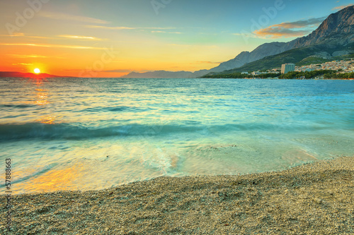 Beautiful sunset over the sea,Makarska,Croatia