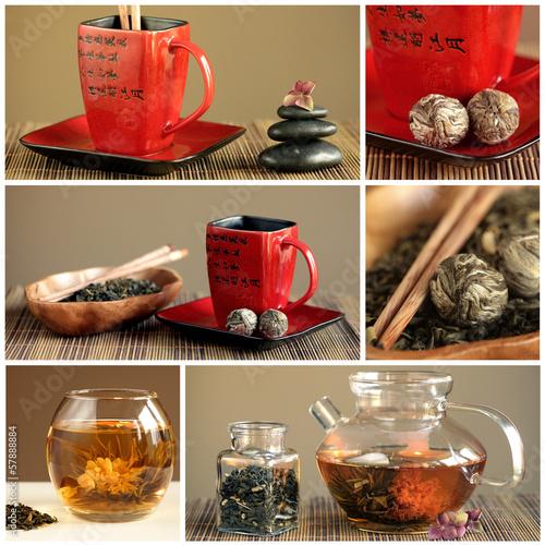 Herbata zielona w czerwonej filiżance