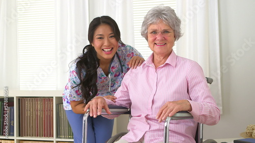 Happy patient with her Japanese caregiver
