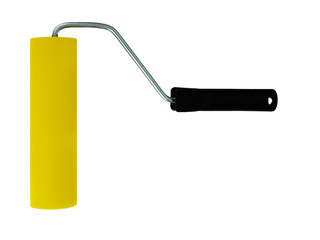 Yellow paint roller isolated on white