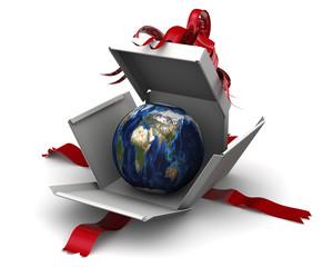 Земной шар в подарочной коробке