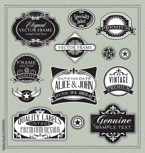 vintage labels frames design elements