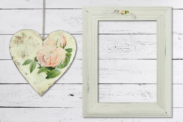 Distressed white painted picture frame