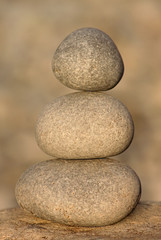 close up of stack of three stones