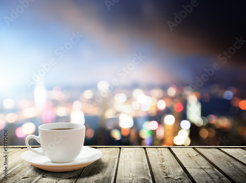 Foto op Canvas Hong-Kong coffee on table in the night city