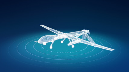 Animation of military drone wireframe rotating. Seamless loop.