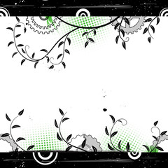 Grunge floral background with concentric circles.