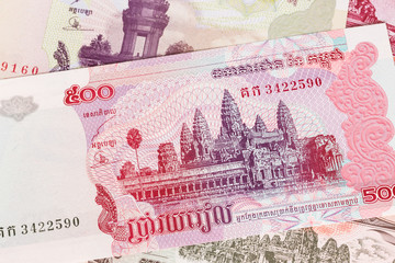 Cambodia riel money banknote close-up