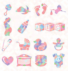 Vector Set: Quilt Pattern Baby Icons