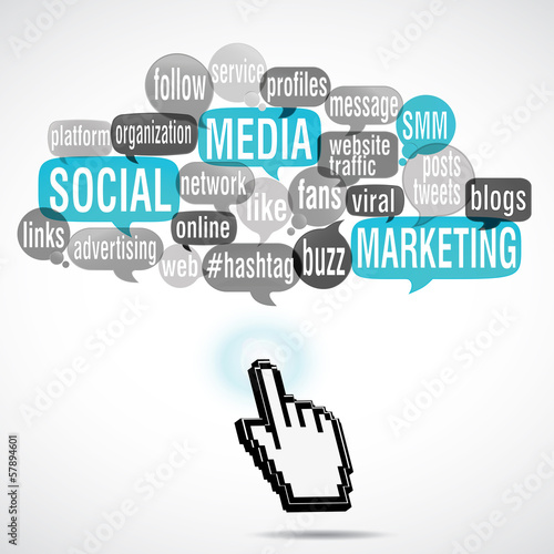 word cloud bubbles with hand touch : smm (cs5)