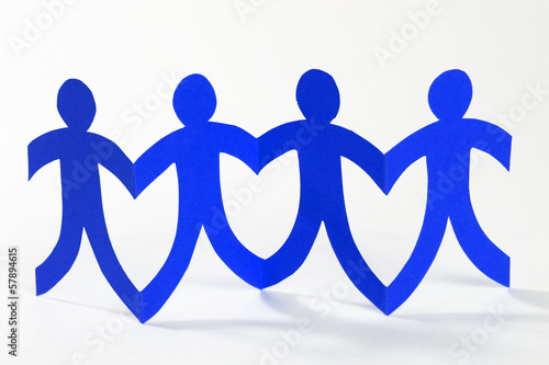 blue paper people, concept of teamwork
