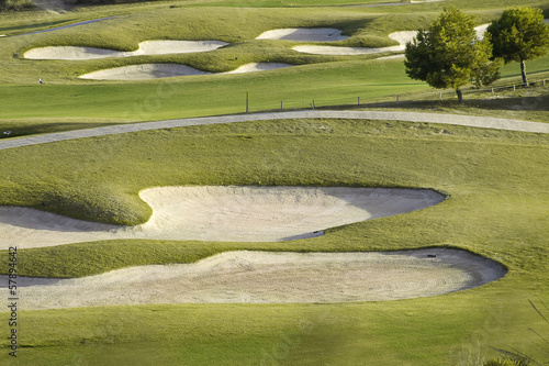 Golf place with nice green at sunrise, Benidorm, Spain