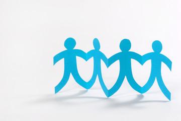 teamwork, blue paper people on white