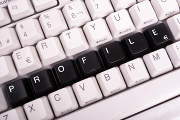 Word Profile written with black keys on computer keyboard.