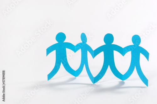 teamwork, blue paper people on white