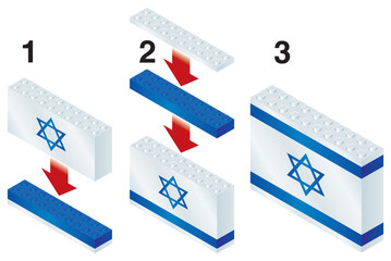 Building blocks making Israeli flag