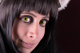 Green Eyes contact lenses woman portrait.