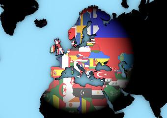 Planisfero Europa con bandiere in 3d faretto che illumina