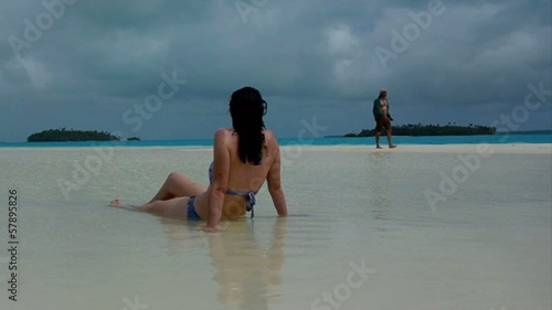 Young couple visit Aitutaki Lagoon Cook Islands