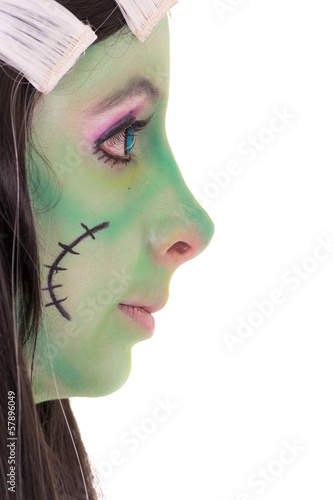 Costume Girl black and white hair style. Green face