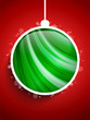 Merry Christmas Happy New Year Ball on Red Background