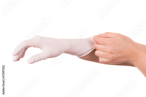 latex glove on isolate white background