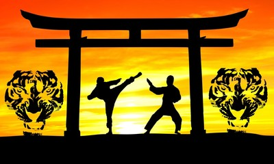 sunset karate three