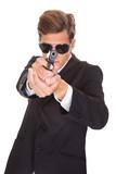 Secret Agent Aiming With Gun