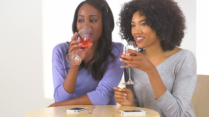 Two African American friends drinking wine and talking together