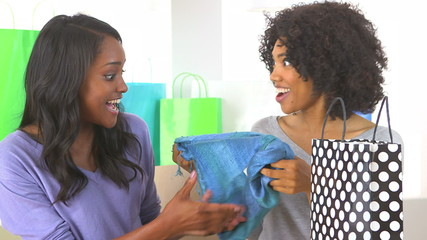 Two African American friends sharing purchases after shopping da