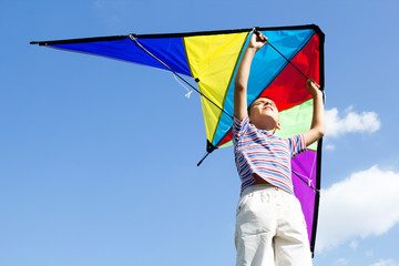 happy little boy flies a kite into the blue sky