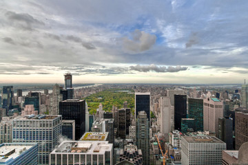 Manhattan and Central Park hight view New York, USA