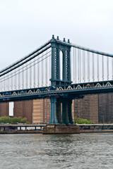 Hudson River with the iconic Manhattan bridge, New York City