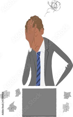 仕事で悩んでるビジネスマン