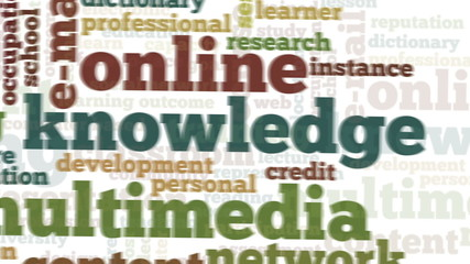 Animation of tag cloud related to distance learning