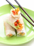 spring rolls with vegetables and chicken on a plate