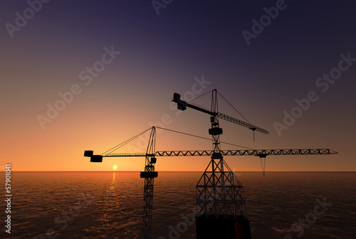 Sea Oil Platform in the Sunset 3D render