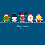 Tree, Snowman, Rudolph, Santa & Angel Gift Blue