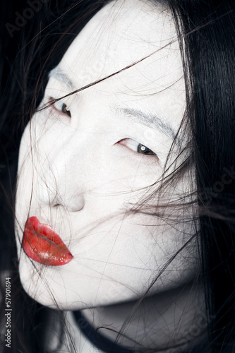 Asian girl with red lips