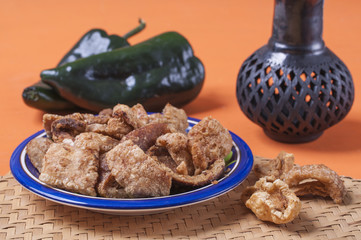 Fried chicharron pork rinds