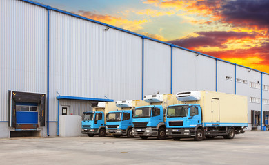 Transport Trucks Docking in warehouse
