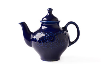 antique porcelain teapot blue on a white background