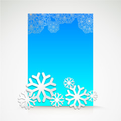 Background with snowflakes and place for text.