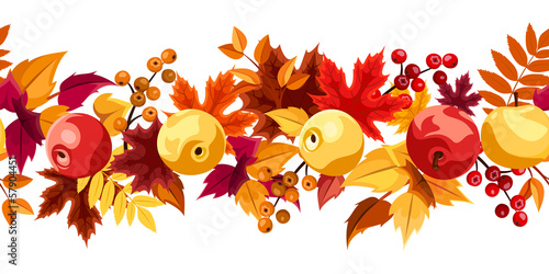Horizontal seamless background with autumn leaves and apples.